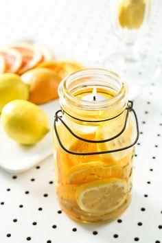 DIY: citrus and oil mason jar candles