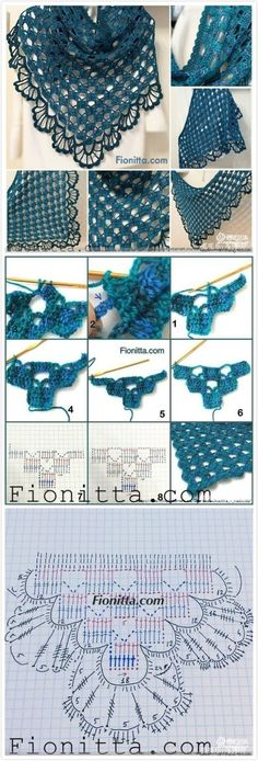 """Скоро осень, пора утепляться """"Easy and pretty crochet shawl. Originally pinned from a Japanese site, but charts are universal."""", """"How to Crochet Shawl Shawl Patterns, Lace Patterns, Knitting Patterns, Crochet Patterns, Crochet Diagram, Crochet Chart, Crochet Stitches, Gilet Crochet, Crochet Lace"""