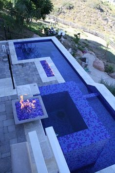 All tile spa with fire features