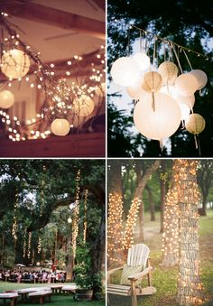 I love the paper lanterns and twinkle lights hanging down.  (not a fan of the xmas lights wrapped around just the bottom of the trees though) - T