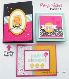 January 2016 Stamp of the Month Club Card Kit - Party Wishes stamp set 2016 Occasions Catalog www.juliedavison.com/clubs #stampinup #birthday