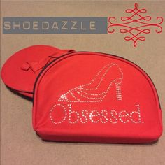 ☀️FlipFlops☀️ Red fabric FlipFlops with a cute red bag with an adorable rhinestone design. Fits perfectly in your purse to give those feet a break after a long night of dancing! Shoe Dazzle Shoes