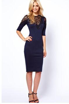 Exquisite lace stitching sleeve package hip dress_Dresses(d)_DESIGNER_Voguec Shop