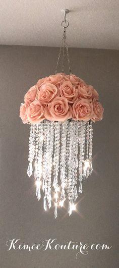 Nursery Chandelier, Acrylic Chandelier, Diy Chandelier, Chandelier Wedding, Chandelier Crystals, Flower Chandelier, Mobiles, Floral Nursery, Nursery Decor