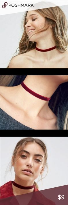 """🌺3FOR$15🌺🥀Velvet Maroon Choker 🥀 Soft & funky velvet maroon choker. Material is velvet front, so lines from being packed should be expected. Approx. 11.5"""" length + approx. 2.5"""" adjustable chain Approx. .5"""" width. Brand new in bags. Jewelry Necklaces"""
