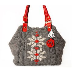 Grey Shoulder Bag Celebrity Style With Genuine Leather Red Straps / Handles hand bag hand made-knit bag