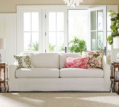 """York Square Arm Slipcovered Sofa #potterybarn Grand Sofa: 95"""" w x 38"""" d x 36"""" h DOES THIS COME WITH A BENCH CUSHION? IS IT WASHABLE?"""