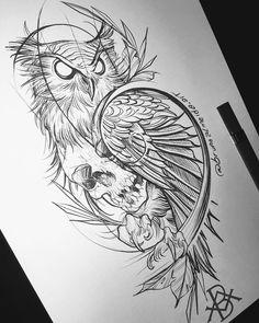 Sketch Style Tattoos, Sketch Tattoo Design, Owl Tattoo Design, Tattoo Sleeve Designs, Tattoo Sketches, Skull Tattoos, Animal Tattoos, Leg Tattoos, Body Art Tattoos