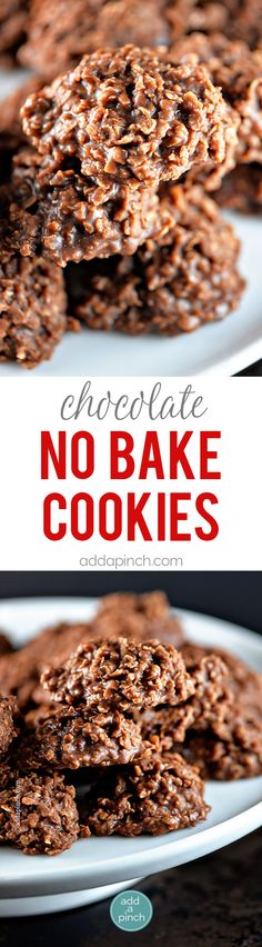 Simple chocolate no bake cookies make a perfect sweet treat. Made with cocoa powder, peanut butter, and oats, these no bake cookies are a favorite. // addapinch.com