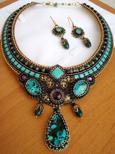 Exclusive gorgeous necklace in blue  colours. Fits for evening apparel. elegant, royal, rich, luxury. Bead embroidery.  chrysocolla