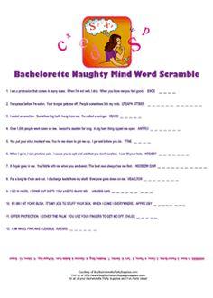 Bachelorette Party Naughty Minds Word Scramble