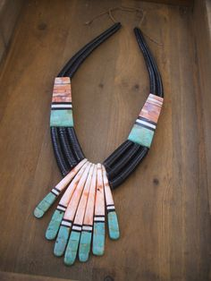 Santo Domingo Pueblo KEWA Artisan DELBERT CRESPIN Spiny Oyster Turquoise Inlay Necklace