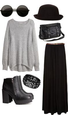grunge-universe: Grey by harleyhuke featuring derby hatsH&M plus size shirt, $40 / Black skirt, $29 / H&M high heel platform bootie...