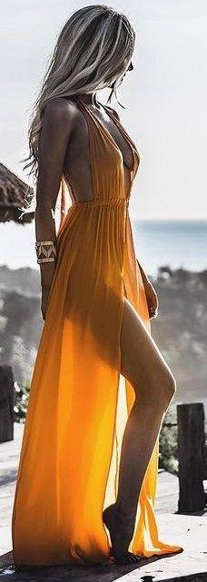 #summer #feminine #outfits | Tangerine Maxi Dress