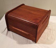 Midcentury-Teak-Tambour-Roll-Top-Storage-Box-Desk-CD - ebay.com :: $35