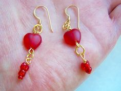Red Glass Heart Drop Earrings Doodaba by doodaba on Etsy Red Roses, Pink Flowers, Red Earrings, Red Glass, Vintage Pink, Gold Glitter, Glass Beads, Delicate, Crystals