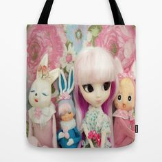 Line Up Tote Bag by Dollyville - $22.00 #doll #tote #bag #bunny #rabbit #girl #children #cute #kawaii #kitsch #pretty
