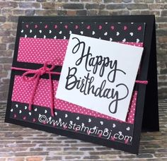 Simple birthday card with Stylized Birthday greeting on Pop of Pink designer series paper.  #stampinbj.com