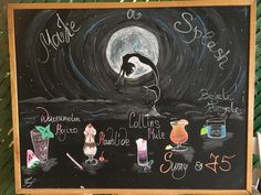 Chalkboard bar art chalks cafe mermaid sea cocktails