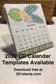 Free 2020 CD Calendar Templates are ready for download so you can make custom stamped calendars. 2020 Calendar Template, Free Calendar, Calendar Pages, Desk Calendars, Calendar Ideas, Hula, Post It Note Holders, Puzzle, Stampin Up Cards