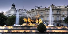 Madrid Spain the fountain the fountain of Cibeles dusk evening a monument of the earth goddess of fertility Cybele the chariot lions Palace Palace of Linares Madrid Hotels, Madrid Tours, Madrid City, The Places Youll Go, Places To Go, Lourdes, Wanderlust, Ibiza, Spain Travel