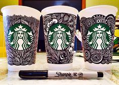 Starbucks Unveils The White Cup Contest Winning Design (and a look at some other submissions). Starbucks Cup Design, Starbucks Cup Art, Starbucks Siren, Starbucks Drinks, Starbucks Coffee, Coffee Cup Art, Coffee Iv, Sharpie Art, Sharpie Markers