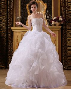 Sweetheart Beading Organza PicK Up 2013 Modest Wedding Dress