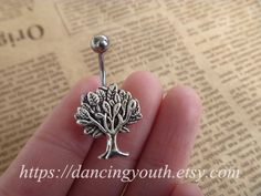 Silver Tree Charm Belly Button Ring, Crystal Belly Ring,
