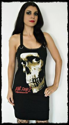 fec6d7b0a47 Evil Dead shirt horror movie Mini Dress top halloween gothic clothing  reconstructed cult classic army of darkness dark style alternative