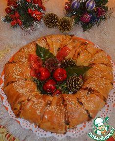 """Пирог-венок из слоёного теста """"Куриный"""""""
