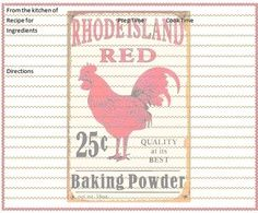 Free Primitive  lables roosters | Rooster Recipe Card Freebie