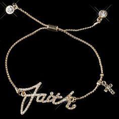 "Gold Clear Script ""Faith"" Bracelet 8827"