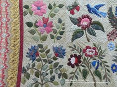 Thread Tales from a Scrappy Quilter: Sally's Beautiful Caswell Quilt Caswell Quilt, Applique Quilt Patterns, Sampler Quilts, Beaded Cross Stitch, Quilting Designs, Quilt Design, Pin Cushions, Beaded Embroidery, Quilt Blocks