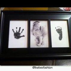 Newborn hand and footprint - Babygeschenk für Mädchen - Baby Diy Newborn Pictures, Baby Pictures, Newborn Pics, Family Pictures, Foto Baby, Baby Memories, Baby Keepsake, Baby Art, Everything Baby