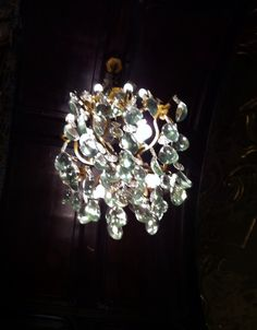 Pretty chandelier at Gerbeaud Hotel. Posh hotel for a tea stop.
