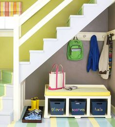 In the Mudroom: Make It Welcoming - Use shelves or cubbies with fun labeled bins or cloth-lined baskets to add storage while creating a smooth and attractive transition into the house. {Love this under the stairs space! Small Space Organization, Organization Hacks, Organization Ideas, Under Stairs, Organizing Your Home, Decorating Small Spaces, House Rooms, Open Trap, Mudroom