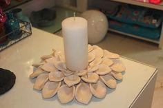 porta vela flor em cerâmica