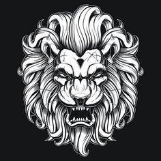 :) Tatoo Art, Tattoo Drawings, Art Drawings, Lion Tattoo Design, Lion Design, Leo Tattoos, Animal Tattoos, Illustration Vector, Vector Art