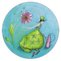 """Gaëlle Boissonnard round postcard (13 cm) """"Le jardin de jour"""""""