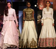 Add a twist to you lehengas with trendy peplum blouses. Stylish Dress Designs, Stylish Blouse Design, Fancy Blouse Designs, Stylish Dresses, Lengha Blouse Designs, Choli Designs, Peplum Top Outfits, Peplum Blouse, Indian Gowns Dresses