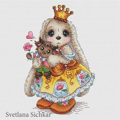 "Cross stitch design ""Bunny Princess ""The size of the embroidery: crosses (for canvas aida 14 is cm)Number of colors: 31 basic colors Palette: DMCUsed stitches: cross stitch, backstitch, half-cross, french knotsAll the patterns are for personal use only. Cross Stitch Fabric, Cute Cross Stitch, Cross Stitch Kits, Cross Stitch Designs, Cross Stitching, Cross Stitch Embroidery, Embroidery Patterns, Cross Stitch Patterns, Cute Animal Illustration"