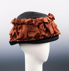 Toque Design House: Caroline Reboux (French, active Designer: Caroline Reboux (French, Date: ca. Suzy, Asian Hair Ornaments, Caroline Reboux, Types Of Hats, Paris Mode, Gibson Girl, Costume Collection, Period Outfit, Culture