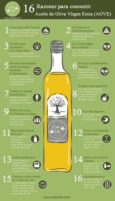 16 Razones para consumir aceite de oliva virgen extra. #infografia #aceite