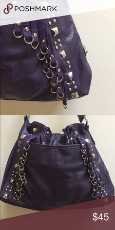 Kathy Van Zeeland Purse Bright and beautiful dark purple purse by: Kathy Van Zeeland, with no signs of wear [mint condition]. Could take with you for a night out on the town, or you can even just take it with, for a simple trip to the grocery store. Has many interior compartments and holds more than it looks; TONS of space inside! Fits very nicely over the shoulder - enjoy it! Kathy Van Zeeland Bags Shoulder Bags