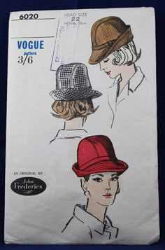 Vintage John Frederies Hat Sewing Pattern - Vogue 6020 by TheVintageSewingB on Etsy
