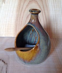 Salt well with bamboo spoon from Fern Street Pottery
