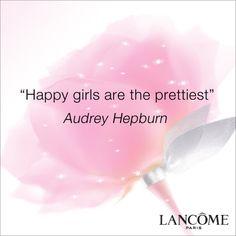 """Happy girls are the prettiest.""  Audrey Hepburn #Inspiration #Quotes"