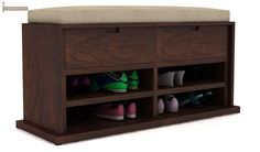 Buy Joyce Sandal-Rack (Walnut Finish) Online in India - Wooden Street