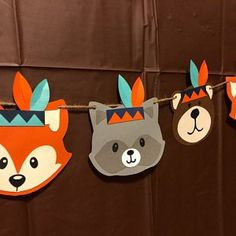 Wild one birthday tribal animals tribal woodland party wild one banner indian baby indian two wild wild one fox bear woodland Cumple bosque Wild One Birthday Party, Baby Boy 1st Birthday, Boy Birthday Parties, Foto Banner, Tribal Animals, Birthday Party Decorations Diy, Indian Baby, Felt Ball Garland, Woodland Party