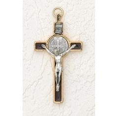 INRI Crucifix with St. Benedict Medal Gold and Silver Tone Enamel Brown 3' ** You can find more details by visiting the image link.-It is an affiliate link to Amazon.